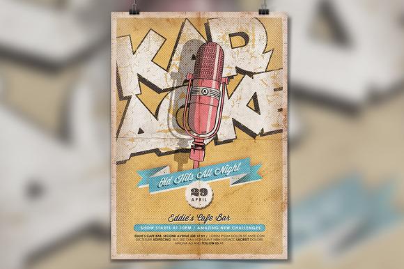 Karaoke Vintage Poster Flyer