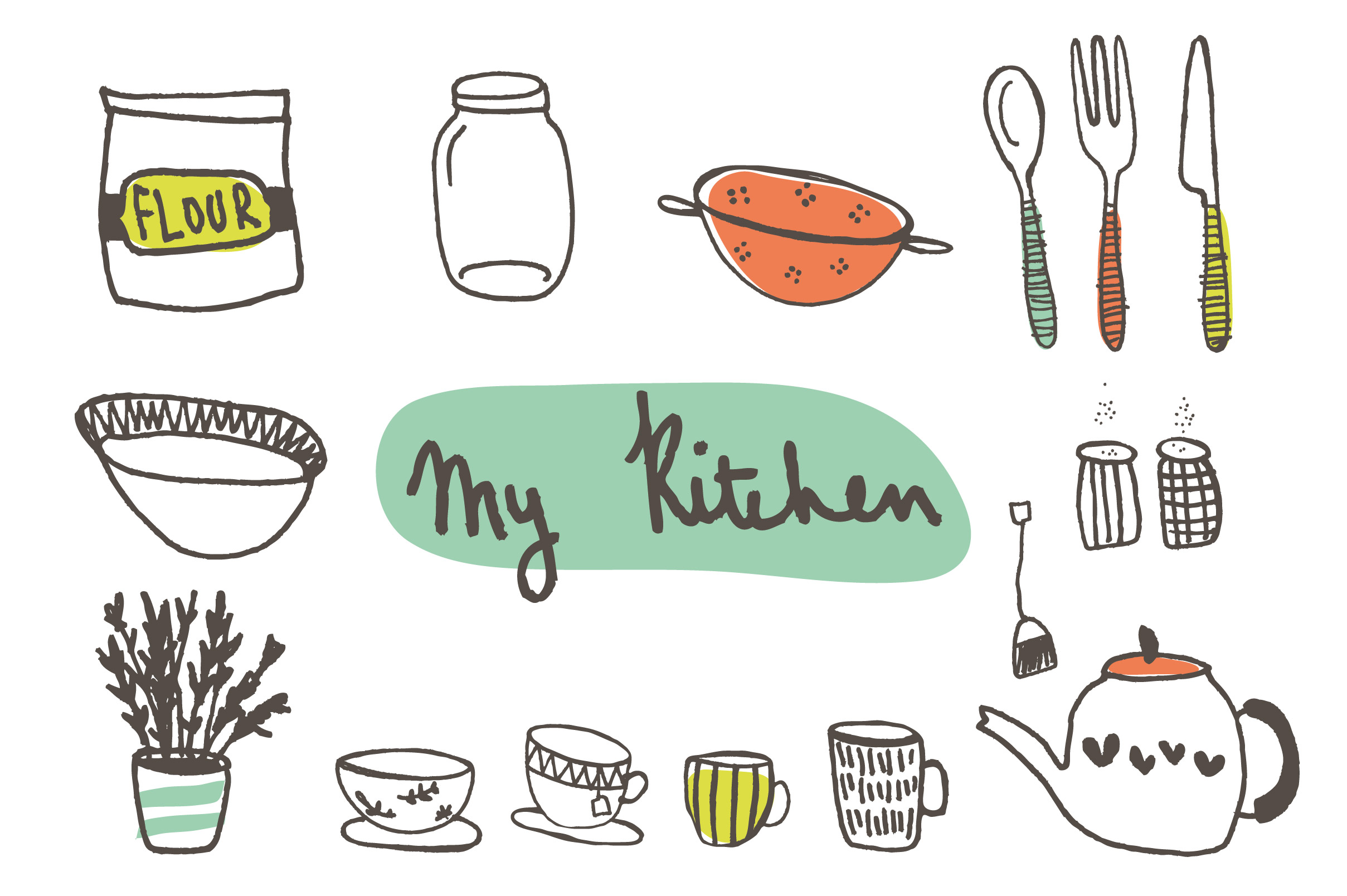 Cooking Utensils Drawing For Kids : Hand Drawn Kitchen Clip Art ~ Illustrations on Creative Market