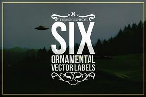 6 Ornamental Vector Labels