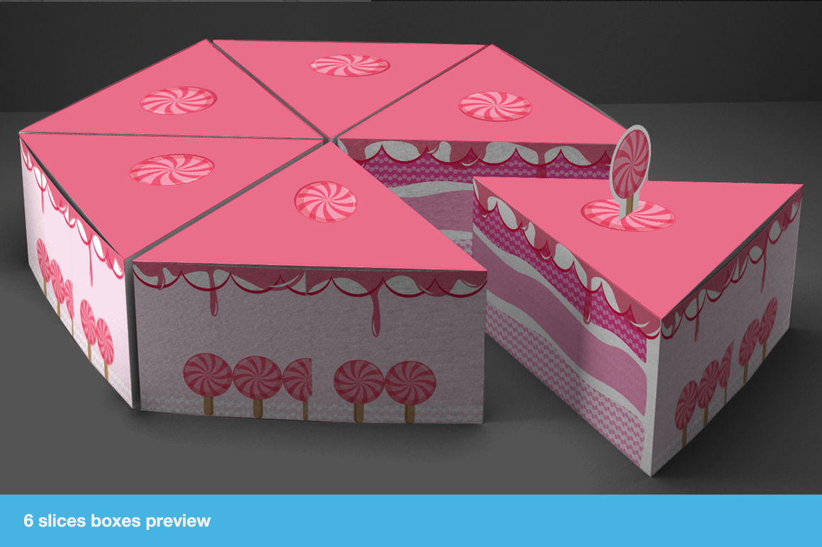gift box packaging cake template templates on creative market. Black Bedroom Furniture Sets. Home Design Ideas
