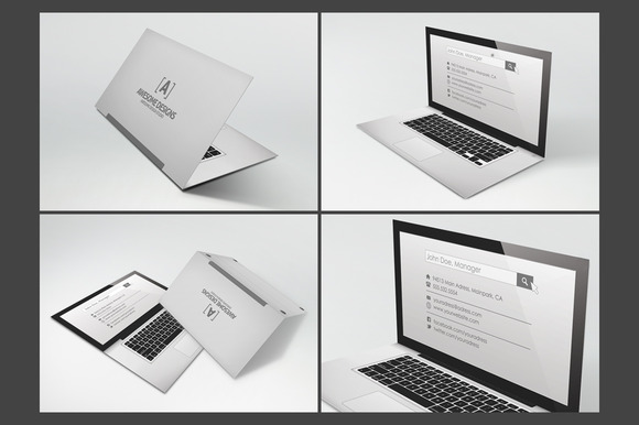 CreativeMarket - Laptop Folded Business Card Template 27557 | Graphic