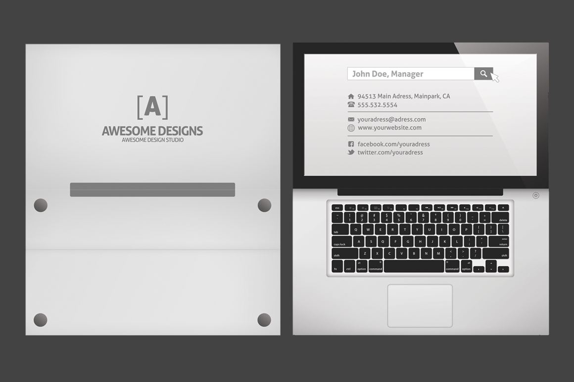 27557 Laptop Folded Business Card Template