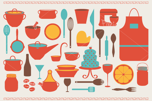 Cooking and Kitchen Cliparts ~ Illustrations on Creative ...
