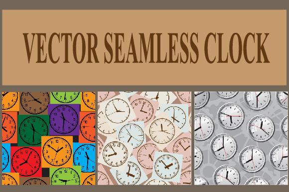 Seamless vector background. Clock. - Illustrations