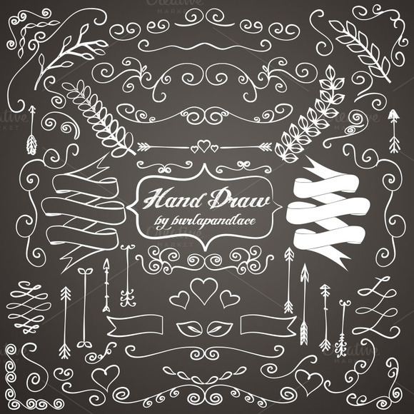 Heart Hands Drawing Chalkboard Hand Draw Ornaments