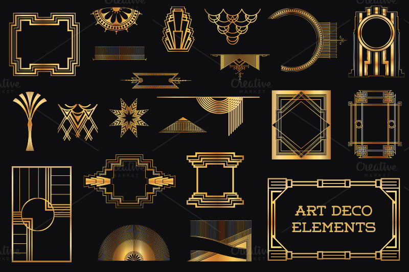 37 art deco design elements vol 1 illustrations on for Deco 5 elements