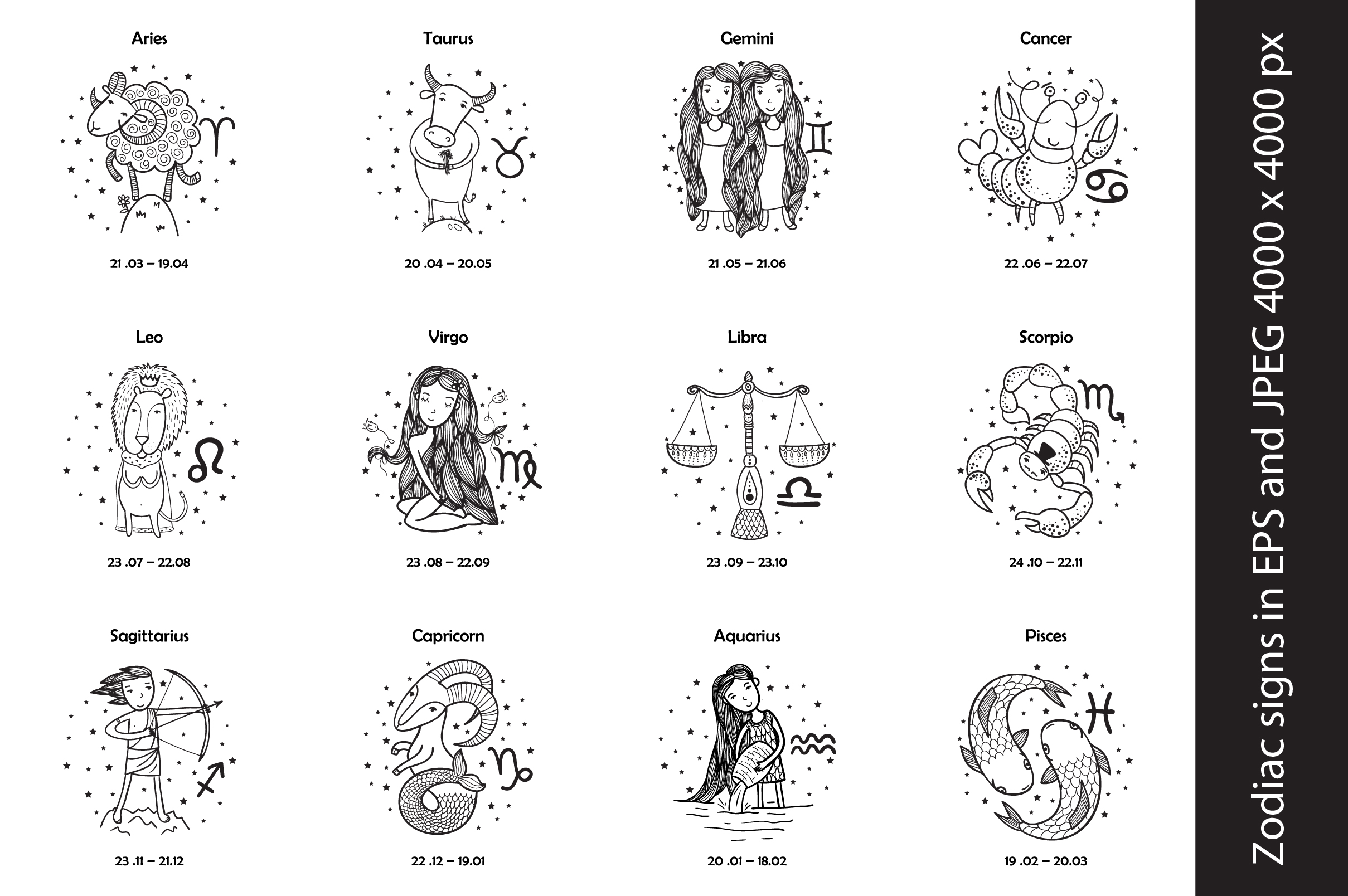 zodiac signs in eps10 and jpeg 4000x