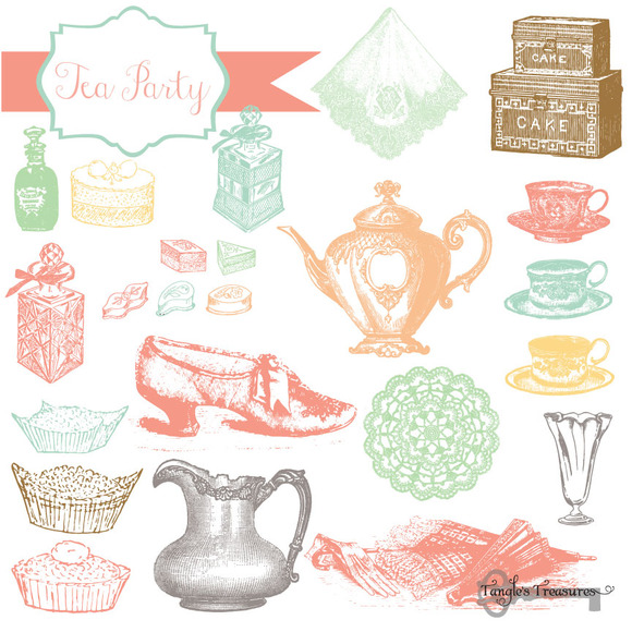 tea party vintage clipart amp brushes brushes on creative