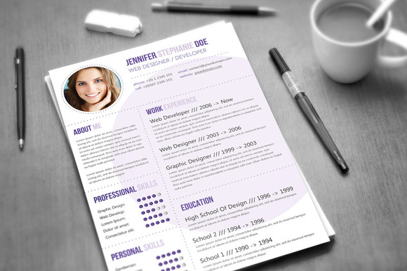Cv Template 3 Colors Resume Templates On Creative Market