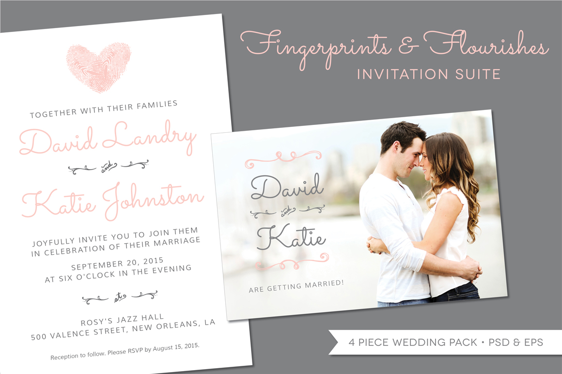 Wedding Invitation Suite Templates: Fingerprint Wedding Invitation Suite