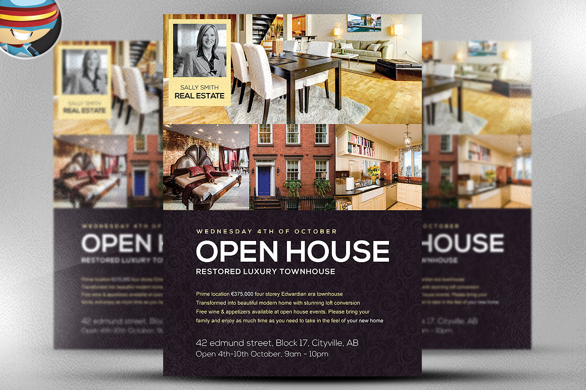 open house flyer template flyer templates on creative market. Black Bedroom Furniture Sets. Home Design Ideas