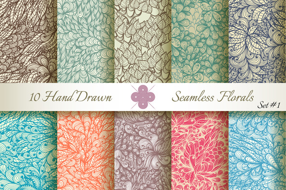10 Ornate Seamless Florals. Set #1 - Patterns