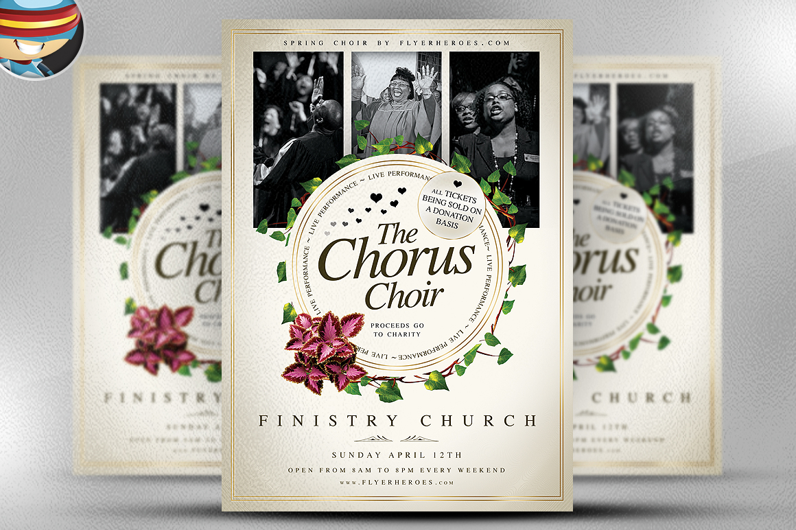 chorus choir psd flyer template