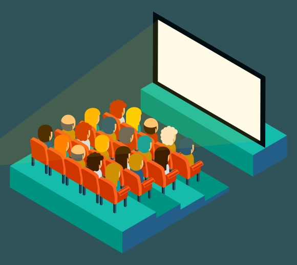 Empty cinema screen with audience ~ Graphics on Creative ...