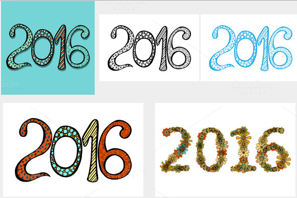 2016 New Year background. Vol. 7 - Objects