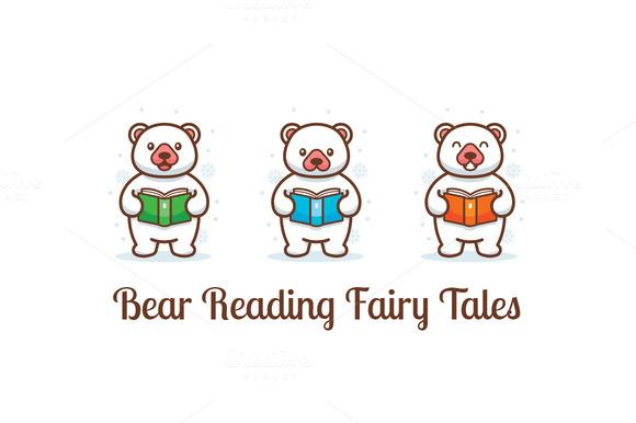 Bear Reading Fairy Tales Clipart