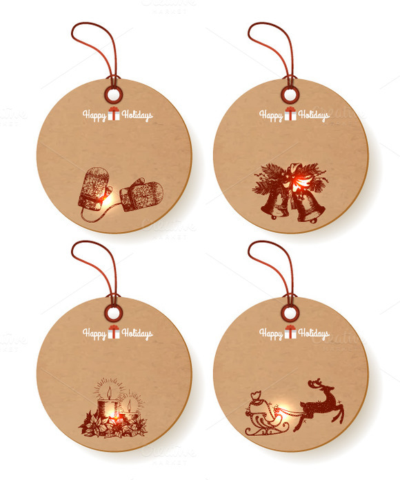 Set Of Round Christmas Paper Tags