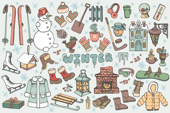 Winter season.Doodle elements 02 - Illustrations