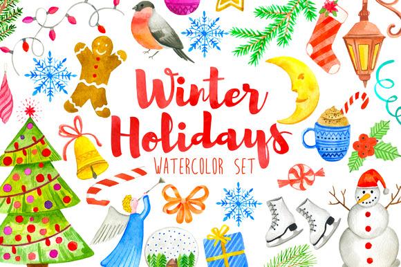 Watercolor Winter Holidays Set