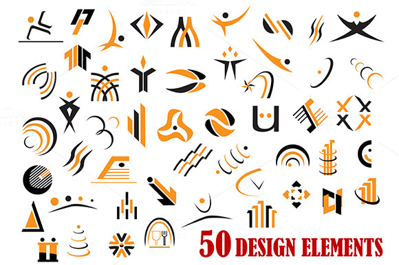 Fifty Abstract Design Elements In Bl