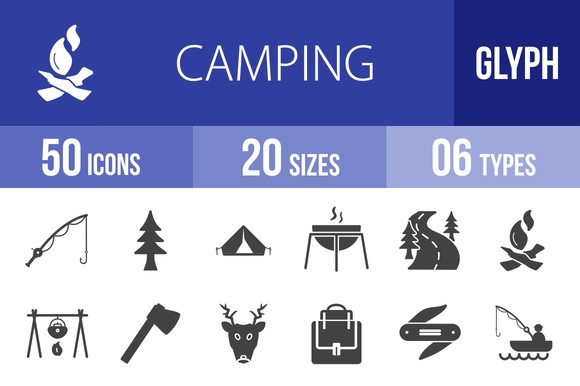 50 Camping Glyph Icons