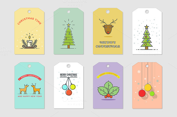 Christmas cards. Line art. - Illustrations