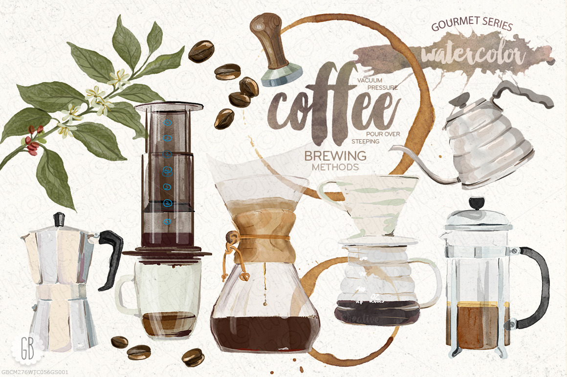 Watercolor coffee brewing methods illustrations on for Coffee watercolor