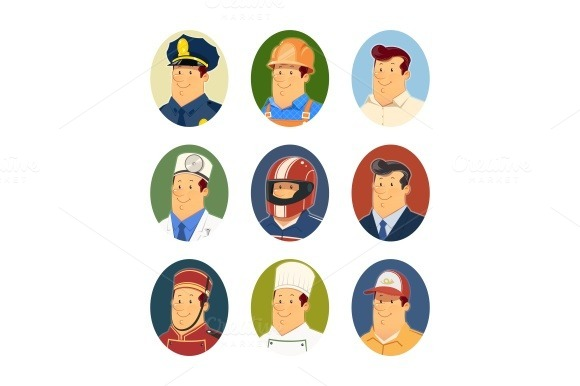 Occupations. Set of vector icons - Illustrations