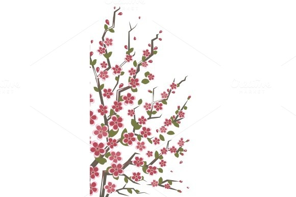 Sakura Branch Floral Background