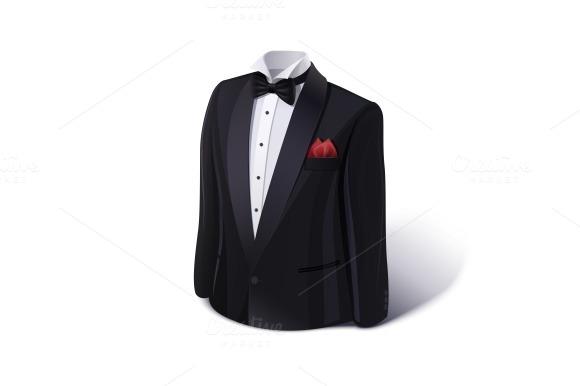 Tuxedo and bow. Stylish suit. - Illustrations