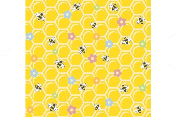 Bee On Honeycomb Seamless Pattern