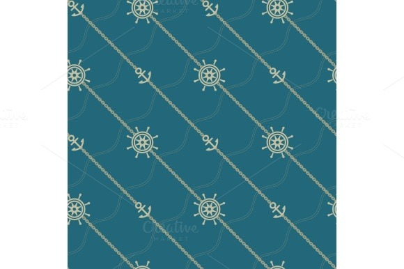 Anchor, wheel and chain. Seamless marine pattern. - Patterns