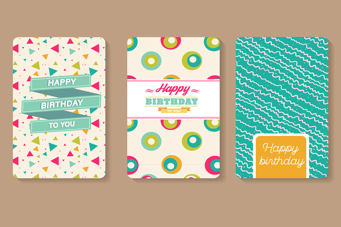 set of happy birthday cards  card templates on creative