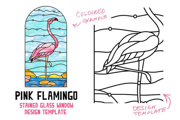 Flamingo. Stained glass window - Objects