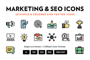 Marketing & SEO Line Icons-Graphicriver中文最全的素材分享平台