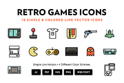 Retro Games Line Icons-Graphicriver中文最全的素材分享平台