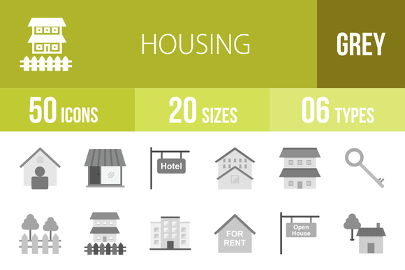 50 Housing Greyscale Icons