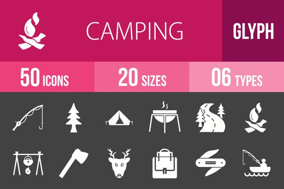 50 Camping Glyph Inverted Icons