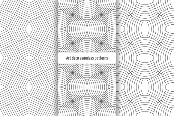 Set Of Art Deco Seamless Patterns