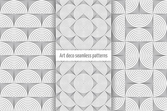 Set Of Art Deco Seamless Patterns