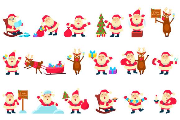 Santa and Deer. Christmas set - Illustrations