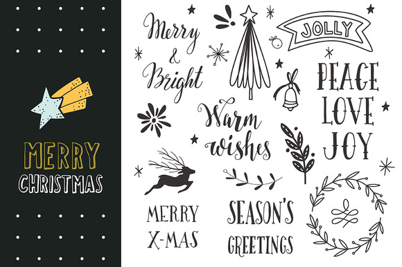 Merry Christmas Hand Lettering Objects On Creative Market