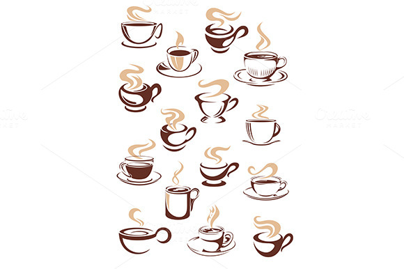 Set Of Vector Steaming Hot Cups Of C