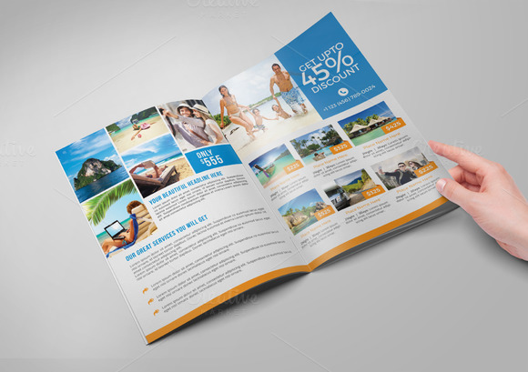 Travel agency bi fold brochure brochure templates on for Bi fold brochure template illustrator