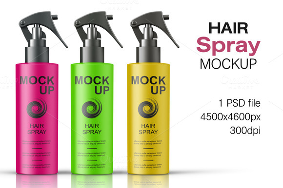 Hair Spray Bottle Mockup Vol. 1 - Product Mockups
