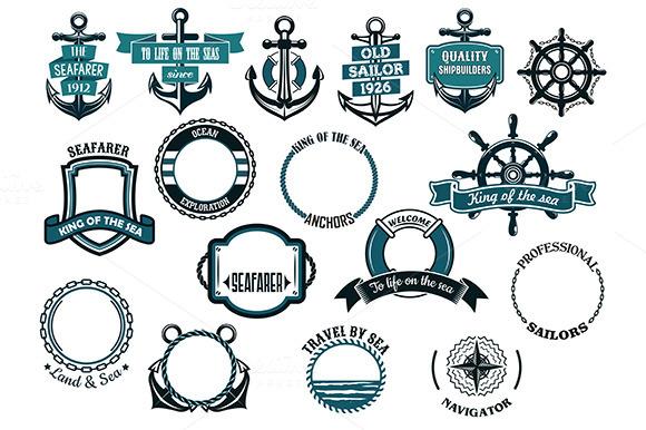 Set Of Nautical Or Marine Themed Ico