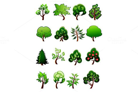Set Of Cartoon Green Plants And Tre