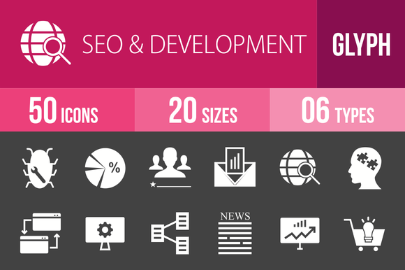50 SEO Development Glyph Inverted