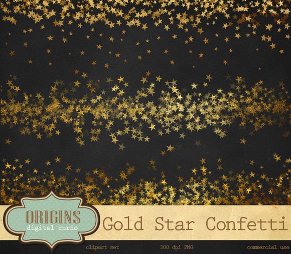 Gold Star Confetti Clipart