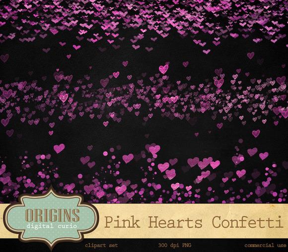 Pink Hearts Confetti Clipart